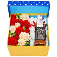 Box of flowers with whiskey for men - flowers and bouquets on df.ua