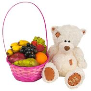 Fruit basket and stuffed toy - flowers and bouquets on df.ua