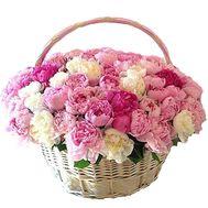 Корзина пионов разных цветов - цветы и букеты на df.ua