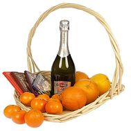Fruit, champagne and chocolate basket - flowers and bouquets on df.ua