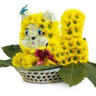 Кот из живых цветов - цветы и букеты на df.ua
