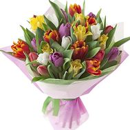 Beautiful bouquet of multi-colored tulips - flowers and bouquets on df.ua