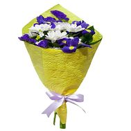 """A small bouquet of chrysanthemum and irises"" in the online flower shop df.ua"