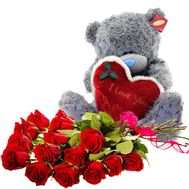 Bear with a bouquet of roses - flowers and bouquets on df.ua