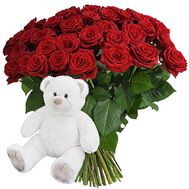 Teddy bear with red roses - flowers and bouquets on df.ua