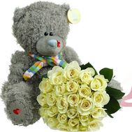 Teddy bear with bouquet - flowers and bouquets on df.ua