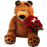 Teddy bear with flowers - flowers and bouquets on df.ua