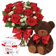 Teddy bear with flowers and sweets - flowers and bouquets on df.ua