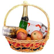 Gift basket with champagne and fruits - flowers and bouquets on df.ua