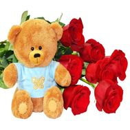 Roses and teddy bear - flowers and bouquets on df.ua