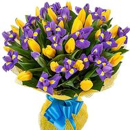 Chic bouquet of blue irises and yellow tulips - flowers and bouquets on df.ua