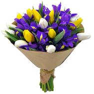 Blue irises, white and yellow tulips in a bouquet - flowers and bouquets on df.ua