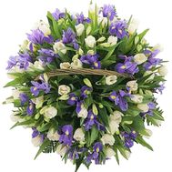 Tulips and irises in the basket - flowers and bouquets on df.ua