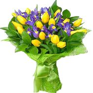 Yellow tulips with blue irises in a bouquet - flowers and bouquets on df.ua