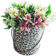 Alstroemeria in a hat box - flowers and bouquets on df.ua