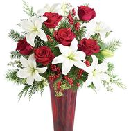 Bouquet of lilies and roses for the New Year with branches of the Christmas tree - flowers and bouquets on df.ua