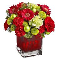 New Year`s bouquet of flowers and decorations - flowers and bouquets on df.ua