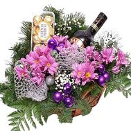 Flowers and bailis in the basket for the New Year - flowers and bouquets on df.ua