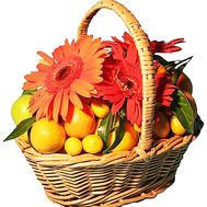 Flowers with fruits in the basket - flowers and bouquets on df.ua