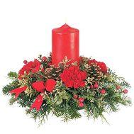 Композиция со свечей на Новый год - цветы и букеты на df.ua