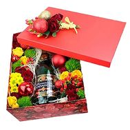 Box with champagne and flowers for the New Year - flowers and bouquets on df.ua