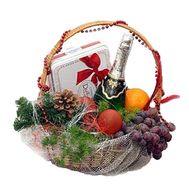 Fruit basket with champagne and sweets - flowers and bouquets on df.ua