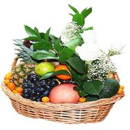 Basket with fruits and flowers - flowers and bouquets on df.ua