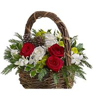 Beautiful Christmas basket of flowers with decor - flowers and bouquets on df.ua
