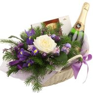 Beautiful Christmas basket with champagne - flowers and bouquets on df.ua