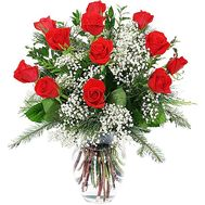 Red roses with spruce branches - flowers and bouquets on df.ua