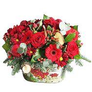 Настольная композиция из еловых веток с цветами - цветы и букеты на df.ua