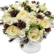 Настольная новогодняя композиция из роз и шишек - цветы и букеты на df.ua