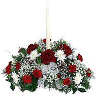 Настольная новогодняя композиция со свечей - цветы и букеты на df.ua