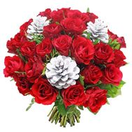 New Year bouquet of roses with cones - flowers and bouquets on df.ua