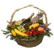 New Year fruit basket with champagne - flowers and bouquets on df.ua