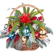 Christmas basket with a houseplant - flowers and bouquets on df.ua