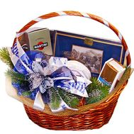 New Year`s basket with sweets and champagne - flowers and bouquets on df.ua