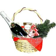 New Year`s basket with champagne Asti Martini - flowers and bouquets on df.ua