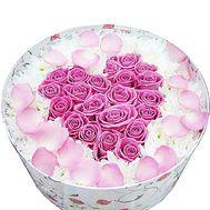 Сердце из роз в коробке с хризантемами - цветы и букеты на df.ua
