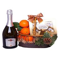 Champagne, tangerines and sweets in the basket - flowers and bouquets on df.ua