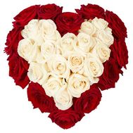 Heart of red and white roses - flowers and bouquets on df.ua