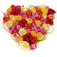 Heart of multi-colored roses - flowers and bouquets on df.ua