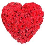 Сердце красных роз на юбилей - цветы и букеты на df.ua