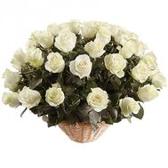 Basket of 51 white imported roses - flowers and bouquets on df.ua