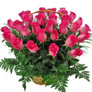 Basket of pink imported roses - flowers and bouquets on df.ua