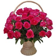 Pink imported roses in the basket - flowers and bouquets on df.ua