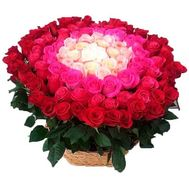 Chic basket of 101 imported roses - flowers and bouquets on df.ua
