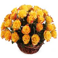 Bright basket of imported roses - flowers and bouquets on df.ua