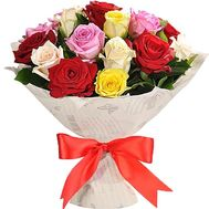 """""""25 multi-colored roses"""" in the online flower shop df.ua"""