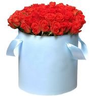 51 orange rose in a hat box - flowers and bouquets on df.ua